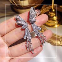 2020 сверкающие роскошные ювелирные изделия длинные кисточки серьги стерлингового серебра 925 пробы проложить белый сапфир CZ Алмаз Кристалл женщины Свадебные серьги на крючках