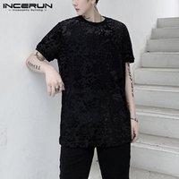 Uomini girocollo stampato magliette nere Moda manica corta T Shirt vedere attraverso floreale Tees partito sexy di Harajuku Top INCERUN 5XL