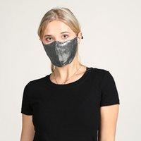 أزياء المرأة الوجه قناع بلينغ بلينغ بريق الترتر قناع مضاد الضباب قابلة لإعادة الاستخدام قابل للغسل قناع الغلاف DDA94