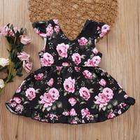 Bebek Kız Elbise V Yaka Elbise Çiçek Gül Baskılı Ins Yeni Yaz Pamuk Butik Sevimli Yelek Elbiseler Rahat