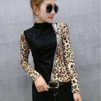 Pull Leopard patchwork T-shirt Nouveau Printemps Automne Femmes pailletée talonnage T-shirts Chemise à col roulé Vêtements Nouveau