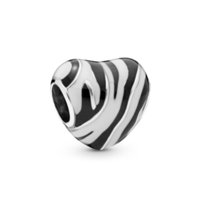 New Authentic 925 Sterling Silver Bead Black and White Ename...