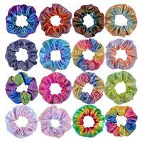 Frauen Shiny Laser Scrunchies Haar-Band-Seil-PU-Leder-elastische Haar-Ring Mädchen Pferdeschwanz-Halter Kreis Gradient Scrunchie Stirnband 16 Farben