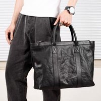 남자 블랙 가죽 서류 가방 사무실 비즈니스 핸드백 노트북 어깨 가방 여행 남성 큰 가방 핸드백 남자의 빈티지 XA34C Khmcu
