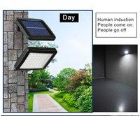 2020 Yeni Güneş Sokak Işık 56 LED Açık Güneş Duvar Işık PIR Hareket Sensörü Güneş Lambası Su geçirmez Kızılötesi Sensör Bahçe Işık
