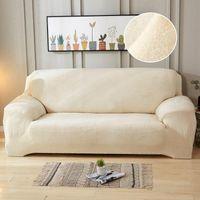 4 plazas felpa Sofá Cover estiramiento sólidas cubiertas gruesas en color Funda Sofá para Sala de estar Animales cubierta de la silla Cojín Sofá 1PC Toalla