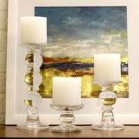 Stile Europa romantica candeliere in vetro trasparente di cristallo Candeliere Tealight Tabella cerimonia nuziale del supporto Centrotavola Home Decor Ornament