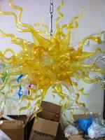 La CA libre llevó bulbos 110v / 240v colgante maravilloso arte de iluminación Amarillo Lámpara de cristal soplada del ornamento