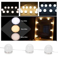 10 LED Lampadine Kit lampada Vanity Makeup Mirror 3Colors Luminosità Dimmerabile Lampadina String Hollywood Style Make up Specchio cosmetico