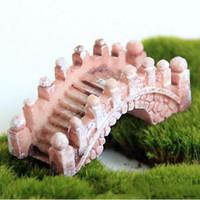 Mini Bridge resina miniatura Paesaggio Fairy Garden Moss terrario strumento di decorazione del giardino Mestieri Figurine 3 colori all'ingrosso DBC BH3139