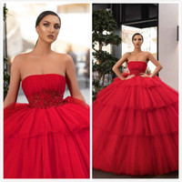 Arabic 2019 Lace Beaded Evening Dresses Strapless Ball Gown ...