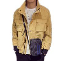Otoño japonés Streetwear Hombres Chaquetas Color sólido Casual Vintage Tooling Work Biker Jacket Hombre Bomber Jacket Windbreakers Talla M-3XL