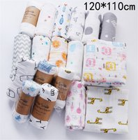 الرضع طبقات الشاش مزدوجة بطانية طفل الوليد قمط التفاف عربة غطاء الكرتون الحيوان الزهور رسائل طباعة الزحف مناشف الشاطئ LY224