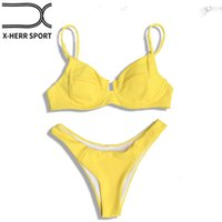 2018 Nouveau Sexy Push Up solide Underwire Bikini Set Summer Beach maillot de bain Beachwear femmes Maillots de bain maillot de bain femme