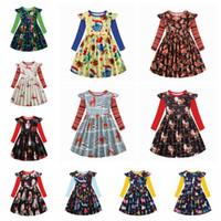 Bebés niños vestidos de Elk Navidad de la Navidad del muñeco de Halloween vestido Impreso volante vestido de manga larga vestidos de fiesta LJJA3495-13