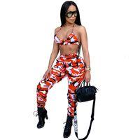 2018 Nova Camuflagem 2 Piece Set Mulheres Two Piece Outfits Bra Cortar Tops Bodycon Skinny calças Mulheres Conjuntos Ladies Suit Sexy Clubwear