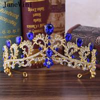 JaneVini 2019 Coronas boda de la manera de princesa azul real y el cristal de la corona de tocados de joyería de la boda tiaras de los accesorios del lujo
