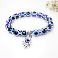 New Fatima Hamsa Mano Blue Evil Eye Charms Bracciali Per le donne Catene di perline Lucky Bangle Moda gioielli turchi regalo