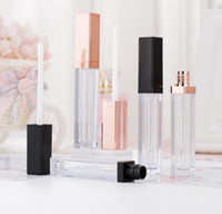 5 мл блеск для губ контейнеры пустой квадратный блеск для губ трубки макияж губ масло контейнер пластиковые трубки черный розовое золото SN4118