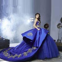 Kraliyet Mavi ve Altın Dantel Quinceanera Elbise Balo Straplez Aplikler Lüks Mezuniyet Balo Debutante Elbise Özel Boyutu