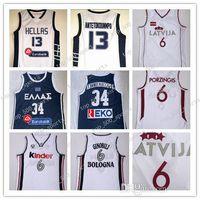 NCAA Griechenland Dwayne Hellas 13 Giannis AntetokounMPO G Jersey 34 AntetokounMPO Italien Kinder Bologna 6 Manu Ginobili Latvija Kristaps Porzingis