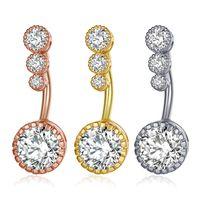 جديد الماس استرخى البطن البارات البطن زر خواتم البطن المجوهرات ثقب الجسم كريستال زهرة السرة ثقب خواتم شكل زهرة قلادة DHL