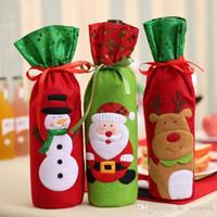 Décoration de Noël pour le plus récent Accueil Table Paillettes Sac à vin Porte-bouteille de vin rouge Housse de Noël Sacs cadeaux