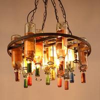 retro ljus loft hängande lampa kreativ bar café bar restaurang dekoration järn vin flaska hänglampa lampa glans retro vin lampa