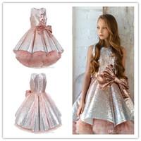 2020 brilhantes lantejoulas Flor Meninas vestidos sem mangas Tulle camadas Tutu Meninas da representação histórica vestidos lindos Puffy Dresses Prom