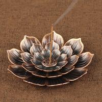 مبخرة الجزر عصا البخور حامل الرئيسية البوذية الديكور لفائف مبخرة مع زهرة اللوتس الشكل برونزية / النحاس زن بود