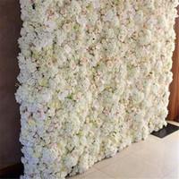 10 pcs / lot 60x40cm romantique artificielle artificielle Hydrangea fleur mur pour la décoration de la scène de la fête de mariage et de la toile de fond de nombreuses couleurs