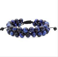 Granos ajustables Bracele 8 MM azul Tiger Red Tiger Eye doble capa trenzada pulsera creativa del grano envío gratis