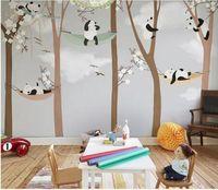 Große süße Panda Bäume 3D Cartoon Wandbilder Wallpaper für Baby Kinderzimmer 3d Fototapete Tapeten Aufkleber