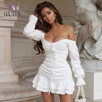 EvaQueen Blanc Volants Robe sexy femmes bretelles Encolure miniclub élégante robe 2020 Fashion Party Summer Vestidos