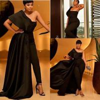 2020 neue schwarze Jumpsuit Abendkleid Appliques Pailletten eine Schulter overskirts afrikanische Abendkleider mit Hose-Klagen Plus Size Partei-Kleider