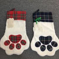4 스타일 대형 솜털 크리스마스 스타킹 애완 동물 개 격자 무늬 발 산타 양말 눈송이 크리스마스 트리 패턴 크리스마 장식 08