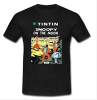 mens designer t shirts shirt Tintin On The Moon Cartoon Man ...