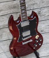 ترقية وظيفية! انجوس الشباب الداكن النبيذ الأحمر SG الغيتار الكهربائي توقيع الجمالون قضيب غطاء