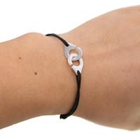 Marca al por mayor 925 joyas de plata de la esposas pulsera para las mujeres de los hombres de tamaño ajustable cuerda pulsera de plata pulsera Menottes