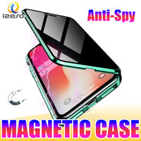 Privacidade magnética Casos de metal para iPhone 12 Pro Max 11 XR Xs 8 mais dupla face de vidro temperado tampa traseira caso caso izeso