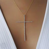 الكلاسيكية الحجم الكبير الصليب قلادة قلادة للنساء مجوهرات سحر مكعب الزركون تشيكوسلوفاكيا الماس الصليب المسيحي الحلي اكسسوارات هدية