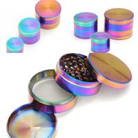 Moedores de Forma de cilindro Quatro Camadas de Liga de Zinco Conjunto de Fumar Acessórios gelo Azul Rainbow Rainbow Moedor de Venda Quente 19 5xm L1