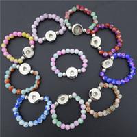Bambini ragazze 15 cm lunghezza perline di vetro colorato bottoni a scatto da 18 mm Bracciale per bambini mescolare i colori 30pcs / lot