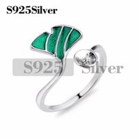 Green Ginkgo Leaf Ring Semi- finished Mountings 925 Sterling ...