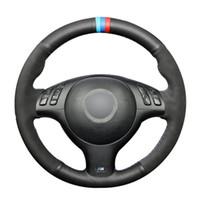 Черный натуральной кожи Черный Suede автомобилей Руль Обложка для BMW E46 E39 330i 540i 525i 530i 330Ci M3 2001-2003
