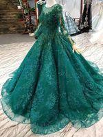 2020 Изумрудный зеленый шариковый платья Quinceanera платья с длинными рукавами Бусины Полное кружевное вечерние платья на заказ