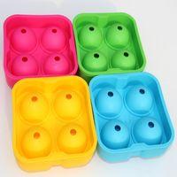 4 Луночный кубик льда мяч питьевой винный лоток круглый чайник плесень сфера плесень партия бар Силиконовый хоккей чайник бар аксессуары KKA7746