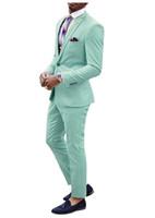 Mint Green Beach Wedding Smoking-Männer Spitze Revers Anzüge Slim Fit formaler schwarzes Paar Prom-Party-Rosa Zwei Stücke Anzug (Jacket + Pants)