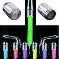 مضيئة ضوء المتابعة LED صنبور المياه دش صنبور حوض مياه الخرطوم مطبخ حمام سخان الحنفيات الحرارة الأزرق 3COLOR 7 ألوان