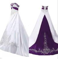 빈티지 흰색과 보라색 선 웨딩 드레스 2020 strapless 새틴 페르시 레이스 자 수 스윕 기차 플러스 사이즈 웨딩 드레스 코르 셋